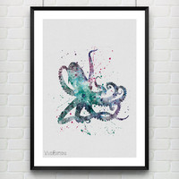 Octopus Watercolor Poster Art Print, Nautical Home Decor, Kids Bedroom Decor, Office Decor, Gift, Not Framed, Buy 2 Get 1 Free! [No. 9-1]