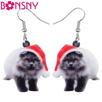 Bonsny Acrylic Fluffy Christmas Cat Kitten Earrings Big Long Dangle Drop Fashion Animal Jewelry For Women Girls Ladies Kids Bulk