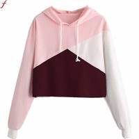 Women Cut Sew Panel Crop Hoodie 2017 Autumn Drawstring Crop Sweatshirt Jumper Pullover Top Blouse Hoodie Sweatshirt Outerwear