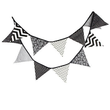 3.2m Fabric Cotton Banner Bunting Black and White Pennant Flags Garland Special  Baby Shower Outdoor Tent Decoration 12 Flags