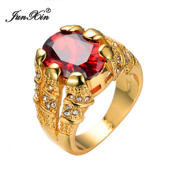 JUNXIN Big Oval Red Stone Crystal Sapphire Zircon Vintage Wedding Rings For Men/Women 10KT Yellow Gold Plated Ring Ruby Jewelry