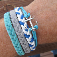 USA Seller- Anchor Friendship Charm Bracelet, Blue and White