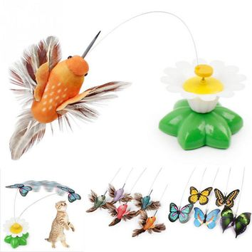 8 x 5.5cm Electric Rotating Colorful Butterfly and Bird Pattern Funny Cat Toys Pet Seat ScratchToy For Cats Kitten