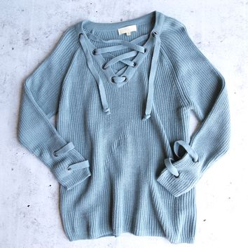 lace up grommet sweater - sage