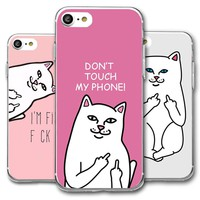 DIFFRBEAUTY Phone Case Cover for iPhone 8 8plus X 5s SE 6 6s 7 plus Cartoon Middle Finger Cat the Soft TPU Galaxy Capa Para Case