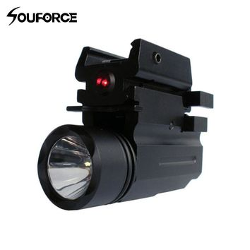 Tactical Rifle Lights with Red Laser Sight Glock Flashlight Pistol Guns Glock 17,19, 22 Series For Rifle Airsoft Hunting