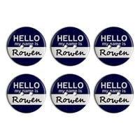 Rowen Hello My Name Is Plastic Resin Button Set of 6