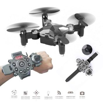 Newest RC Folding Drones Watch-Style Controller Mini Selfie Dron Pocket Helicopter Rc Quadcopter Outdoor Toys Gift
