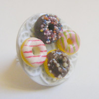 Four Little Donuts Miniature Food Ring - Miniature Food Jewelry