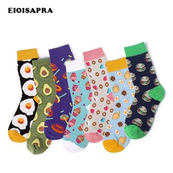New Sweet Food Avocado Fruit/Egg/Ice Cream Harajuku Socks Art Abstract Oil Painting Socks Women Creative Cute Calcetines Mujer