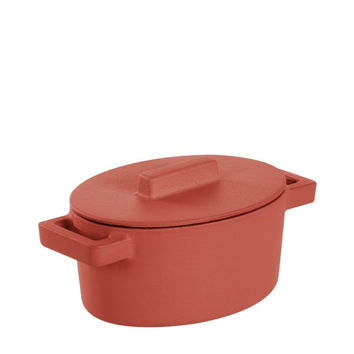 Terra Cotto Cast Iron Oval Casserole with Lid | Paprika