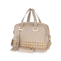 Cream studded leather bowler bag
