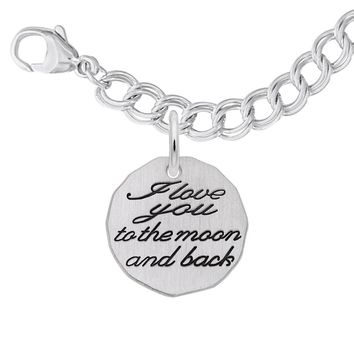 Moon and Back Charm and Bracelet Set in Sterling Silver