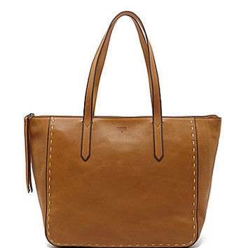 Fossil Sydney Pick Stitch Shopper Tote - Brown Sugar