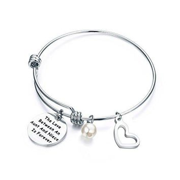 ENSIANTH Aunt and Niece Gift The Love Between Aunt amp Niece is Forever Bracelet Expandable Charm Bracelet Aunt Niece Jewelry