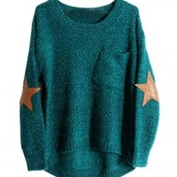 Pocket Textured Pullovers with Elbow Patch