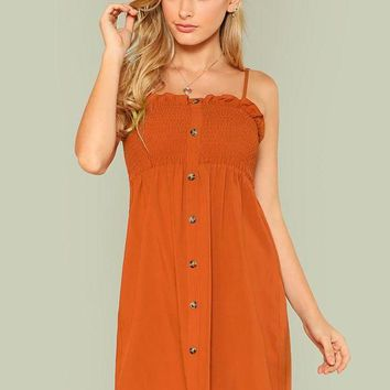 Casual Rustic Orange Cami Dress