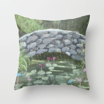 Forest Bridge Throw Pillow by Lindsay