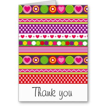 Cute flowers hearts and dots Thank You Card from Zazzle.com