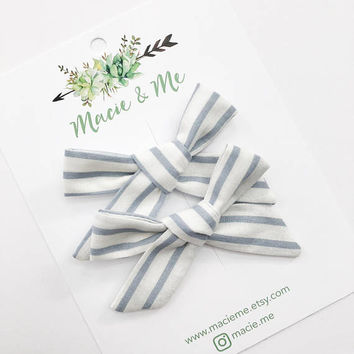 Blue White Stripe Hand Tied Bows