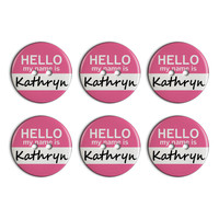 Kathryn Hello My Name Is Plastic Resin Button Set of 6