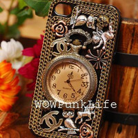 Custom Vintage Design Retro Pocket Watch Antique Brass Clock Owl iPhone Case iPhone 4 Case iPhone 5 Case iPhone 4S Case