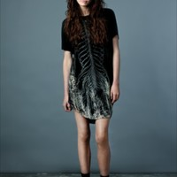 Bones Easy T dress in black by Draw In Light