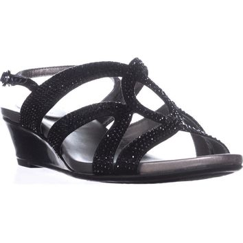 Bandolino Gomeisa Slingback Wedge Sandals, Black, 6 US