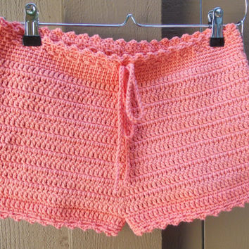 Crochet Shorts - High Cut - Orange - Tangerine - Cotton - Fashion - Spring - Summer - Custom Orders Welcome