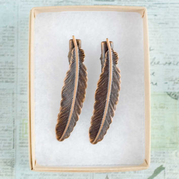 antique copper feather bobby pin set by Myvintagesilhouettes