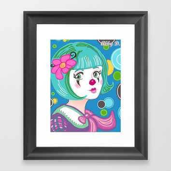 Spring Spirit Clown Framed Art Print by Artist Abigail