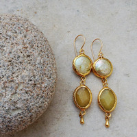 spring pastel drop fresh water pearl lemon sunshine yellow stone- Long Earrings  Gold bridal Earrings - Gemstone Earrings -  israel jewelry