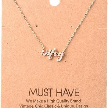 Must Have-Bling Wifey Necklace, Rose-Gold