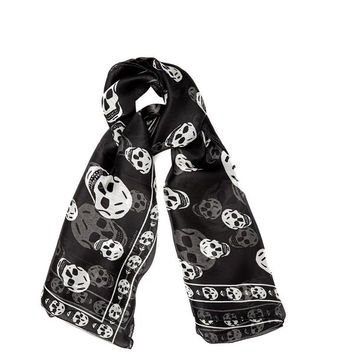 Alexander Mc Queen Black And White Skull Print Silk Scarf New  (Alexander McQueen)