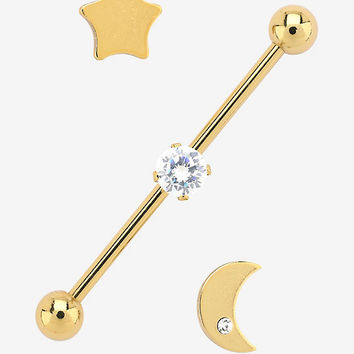 14G Steel Gold Star Moon Clear CZ Industrial Barbell