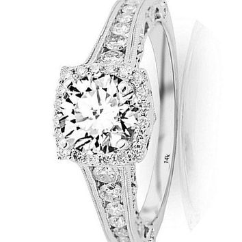 .1.5 Ctw 14K White Gold GIA Certified Round Cut Vintage Halo Style Channel Set Round Brilliant Diamond Engagement Ring Milgrain, 0.75 Ct D-E VS1-VS2 Center