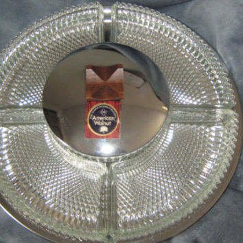 Vintage Club American Walnut Lazy Susan Serving Tray with Crystal Dishes - Like New Condition