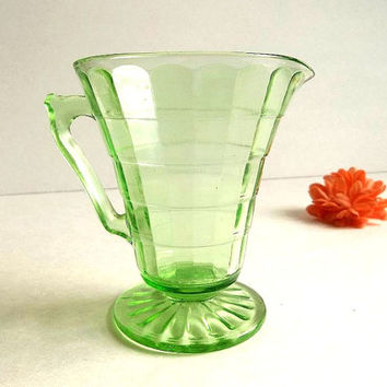 Antique Green Depression Glass cream pitcher, Block Optic pattern creamer, cone shaped footed cream pitcher 1930's by Hocking Glass