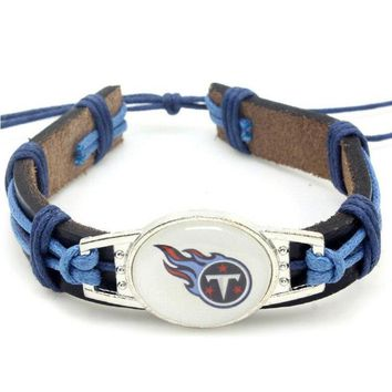 Hot Selling Tennessee Titans Football Team Leather Bracelet Adjustable Leather Cuff Bracelet For Men and Women Fans 10pcs/lot