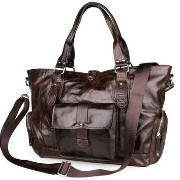 Coffee Cow Leather Lady Handbag Travel Bag Men Made in China_Briefcase Handbags_Men's Leather Bags