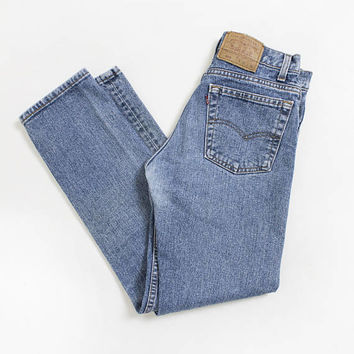 "Vintage Levi's 505 JEANS - Denim Slim Fit Tapered Leg High Waist Mom Jeans 1980s - 28"" x 30"" Small S"