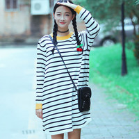 Casual Stripe Printed Long Sleeve Loose Fit Pullover Sweater