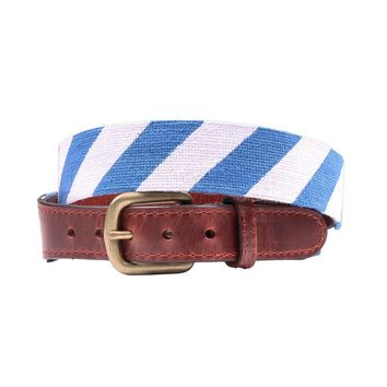 Repp Stripe Needlepoint Belt in Blue and White by Smathers & Branson