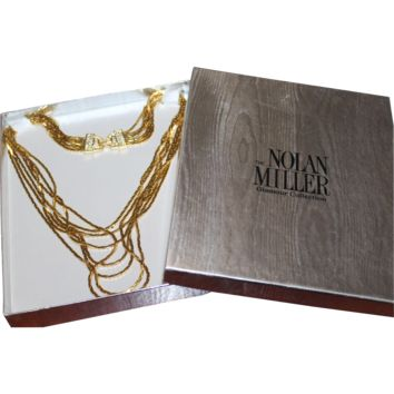 NOLAN MILLER Designer Couture High End Pave Rhinestone Dazzling Multi Strand Cascading Necklace