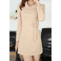Apricot Long Sleeves Cowl Neck Mini Dress