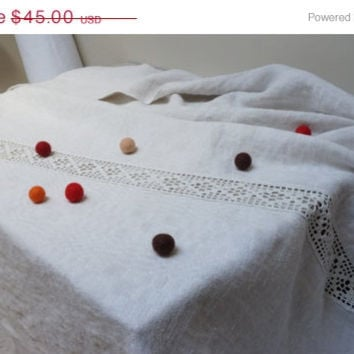 ON SALE Antique Linen tablecloth Vintage Retro Gift white taupe ecru Flax handwoven in Lithuania patterned 1910s crochet lace handmade antiq