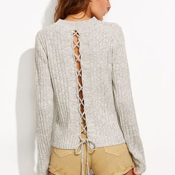 Grey Marled Knit Lace Up Back Ribbed Sweater | MakeMeChic.COM