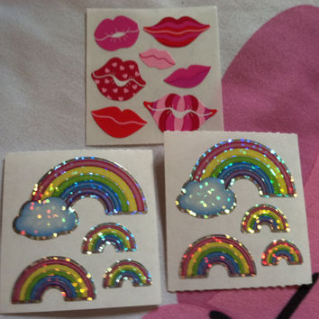 Sandylion Sticker Lot Glitter Iridescent Rainbow Lips Smooches Kisses Colorful Bright Bold Fairy Kei Kawaii Cute