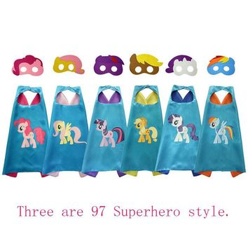 New Styles 70*70CM Double Side Satin Superhero Kids Cape Mask Little Pony Cloaks Cosplay Birthday Party Halloween Gift Hot Sale