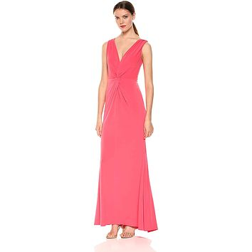 Calvin Klein Women's Sleeveless V Neck Gown with Twist Knot Front
